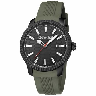 Roberto Cavalli Men's RC-33 Stainless Steel Swiss Quartz Watch with Rubber Strap Green 20 (Model: RV1G026P0036)