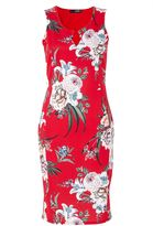 Quiz Red Floral Print Sleeveless Midi Dress