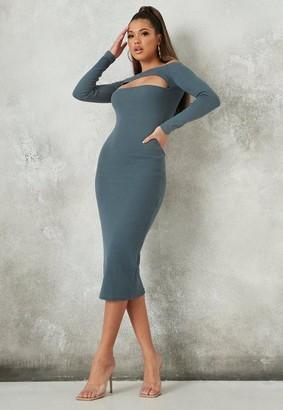 Missguided Rib Cut Out Bust Bardot Midi Dress