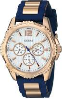 GUESS GUESS? Women's U0325L8 Rose Gold-Tone Watch with Navy Blue Silicone Band