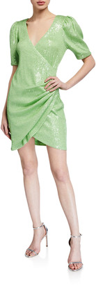 ONE33 SOCIAL Sequin Elbow-Sleeve Ruched Mini Surplice Dress