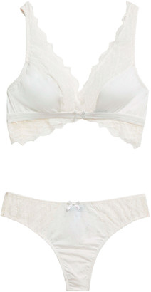 Cosabella Stretch-lace And Jersey Bralette And Mid-rise Thong