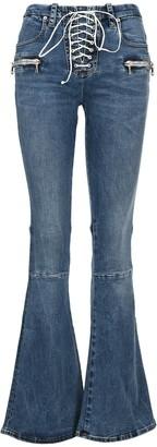 Unravel Project Lace-Up Boot-Cut Jeans