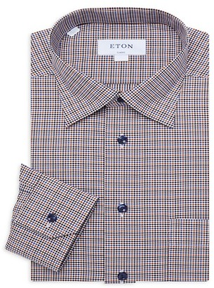 Eton Classic-Fit Checkered Dress Shirt