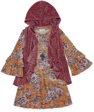 Knitworks Knit Works 2-pc. Girls 3/4 Sleeve Floral A-Line Dress - Big Kid