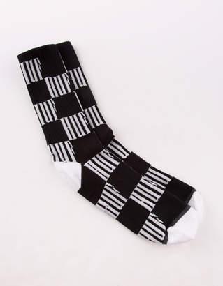 HUF Big Checkered Black Mens Crew Socks