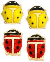 Macy's 10k Gold Earrings Set, Red and Yellow Ladybug Stud Earrings