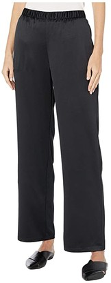 Eileen Fisher Recycled Polyester Satin Straight Pants (Black) Women's Casual Pants