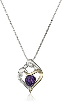 """Amazon Collection Sterling Silver and 14k Yellow Gold Heart Mother's Jewel Amethyst and Diamond Accent Pendant Necklace 18"""""""