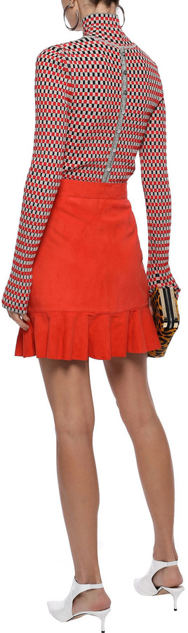 Thumbnail for your product : Ganni Salvia Ruffle-trimmed Suede Mini Skirt