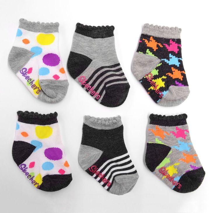 Skechers 6- pk. girls graphic socks - baby