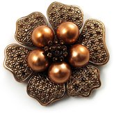 Avalaya 6-Petal Imitation Pearl Floral Brooch (Copper&Gold Brown)