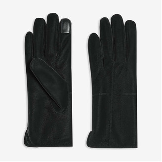 Joe Fresh Women's Faux Leather Gloves, Black (Size L/XL)