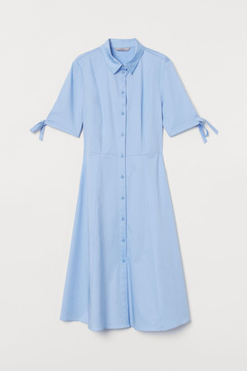 H&M Cotton Satin Shirt Dress - Blue
