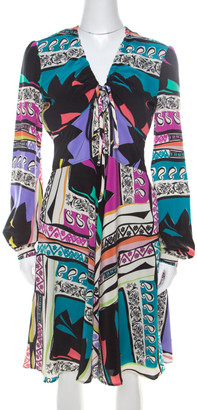 Etro Multicolor Abstract Printed Silk Long Sleeve Flared Dress M