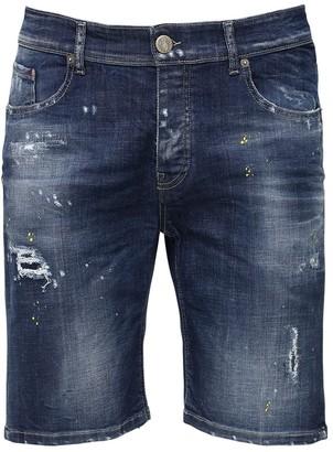 Premium Mood Denim Berret Distressed Cotton Denim Shorts