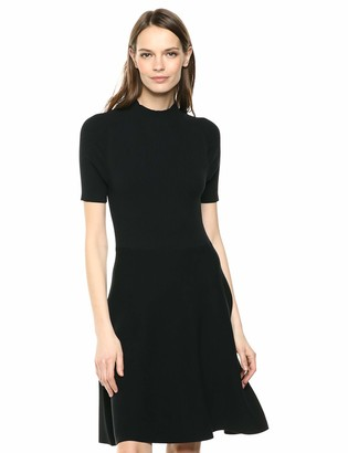 Lark & Ro Matisse Half Sleeve Funnel Neck Cut Out Dress Black Beauty Medium