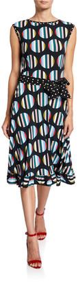 Melissa Masse Dot-Print Sleeveless Fit-&-Flare Ruffle-Hem Dress