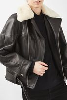 Topshop '80s Leather Aviator Jacket by Boutique