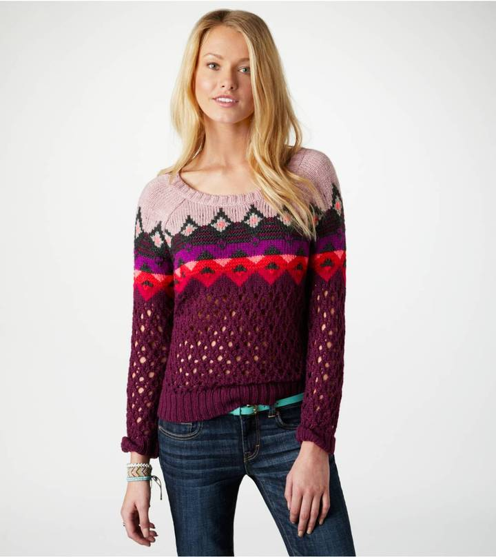 American Eagle AE Fair Isle Open Stitch Sweater