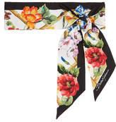 Dolce & Gabbana Printed Silk-twill Scarf - Black