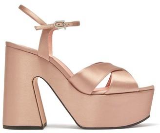 Rochas Satin Platform Sandals - Nude