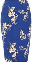 River Island Womens Blue floral print pencil skirt