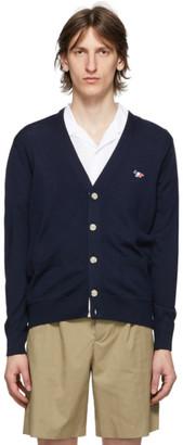 MAISON KITSUNÉ Navy Tricolor Fox Cardigan