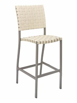 "Florida Seating 30"" Patio Bar Stool Frame Finish: Taupe, Seat Color: Khaki"