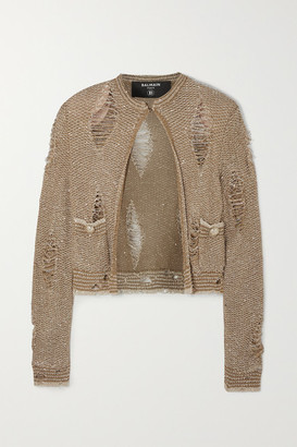 Balmain Distressed Sequin-embellished Knitted Cardigan - Gold