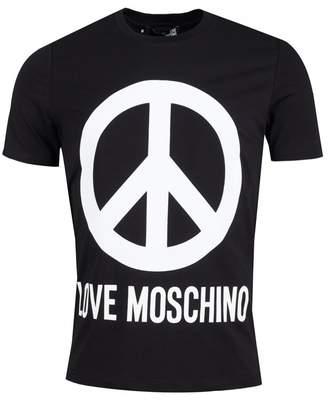 Moschino Peace Logo Slim Fit Crew Neck T-shirt Colour: BLACK, Size: LA