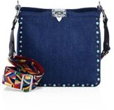 Valentino Rolling Rockstud Small Guitar-Strap Denim Hobo Bag
