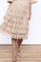 Ina Beige Lace Midi Skirt
