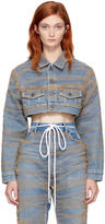 Off-White Blue Cropped Tulle and Denim Jacket