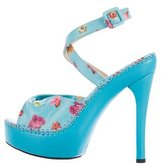 Versace Leather Floral-Accented Sandals