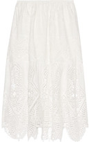 Anna Sui Crochet-trimmed Embroidered Cotton Midi Skirt - Ivory