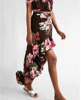 Express floral ruffle maxi skirt