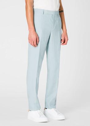 Men's Slim-Fit Sky Blue Linen Trousers