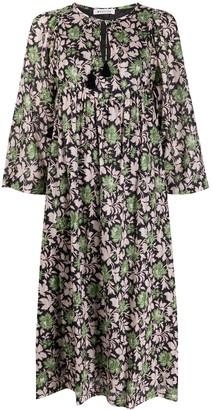 Masscob foliage patterned tassel detail dress