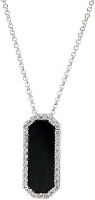 Roberto Coin 18k White Gold Black Jade Pendant Necklace w/ Diamonds