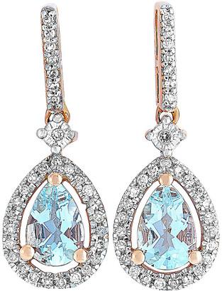 Non Branded 14K Rose Gold 0.87 Ct. Tw. Diamond & Aquamarine Earring