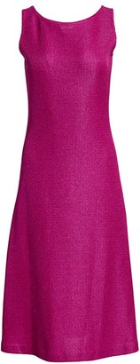 St. John Textured Metallic Inlay Knit A-Line Dress