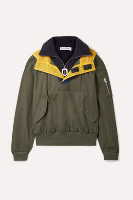 J.W.Anderson Hooded Shell-trimmed Layered Cotton-drill And Fleece Jacket - Green