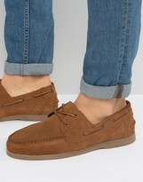 Asos Boat Shoes In Tan Suede With Gum Sole