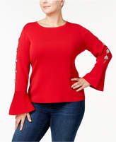 INC International Concepts I.n.c. Plus Size Rhinestone Bell-Sleeve Sweater, Created for Macy's