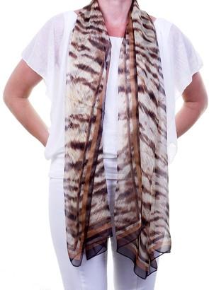 Silk Scarves 100% Pure Silk Sheer Ladies Fashion Scarf Shawl Sarong with Tiger Animal Print in Natural