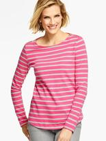Talbots Castine Stripes Zip-Shoulders Tee