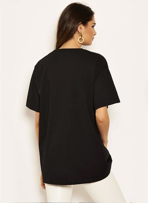 AX Paris Slogan T-shirt - Black