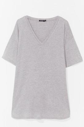 Nasty Gal Womens V Happy Plus Mini Tee Dress - Grey