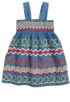 Stella McCartney Girl's Magnolia Swirl Embroidered Smocked Dress
